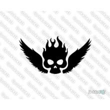 Lipdukas - Kaukolė deganti su sparnais 7