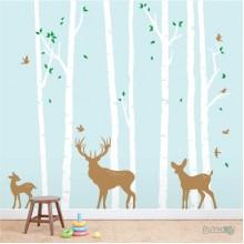 Lipdukas - Beržų miškas su elniais