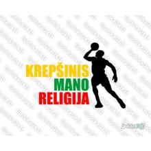 Lipdukas - Krepšinis mano religija 3 (trispalvė)